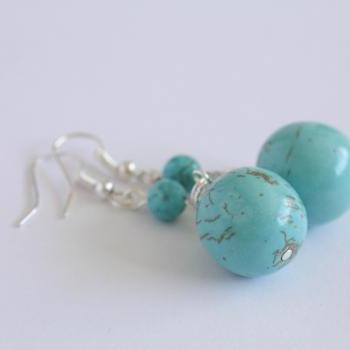 Turquoise drop earrings, December birthstone necklace